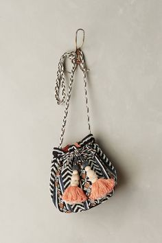 I'm gonna try sewing something like this someday. Love the color combinationg with the pompoms. Festival Bucket Bag - anthropologie.eu