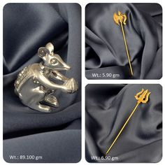 An #extraordinary #gold plated #parshu,#trishul and #silver #mushak for your #ganesha idol.