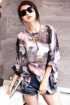 Let them marvel at this Korean Fashion Mix Color Print Chiffon Blouse. It boasts a ombre color print all throughout. Rounded neckline. #Style #WomensWear