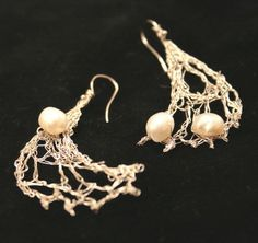 Stylish handmade crochet bridal earrings with freshwater pearls