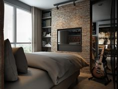 Three Dark Colored Loft Apartments with Exposed Brick Walls Brick Columns, Exposed Brick Walls, Small Space Living, Small Rooms, Loft Design, House Design, Modern Design, Loft Spaces, Loft Apartments