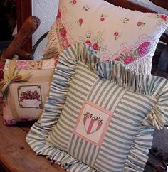 Country Heart Pillow Cross Stitch Cottage Chic by ITSYOURCOUNTRY
