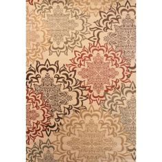 Made with soft heat-set polyropylene fibers, this transitional area rug will make a focal presence in any room. The Karma antique rug showcases warm hues of red, beige, and black.