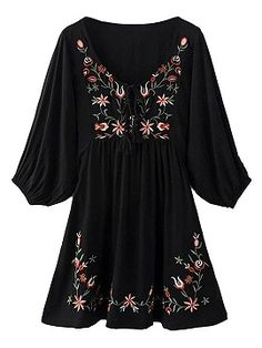 Shop Black V-neck Embroidery 3/4 Sleeve Crepe Detail Dress from choies.com .Free shipping Worldwide.$21.9