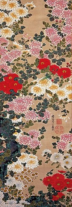 Chrysanthemums. Ito Jakuchu. 伊藤若冲「菊虫図」Japanese hanging scroll. Edo period. Eighteenth century.