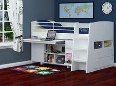 White TT Midi Sleeper Cabin Beds - White Midsleeper Bed With Storage