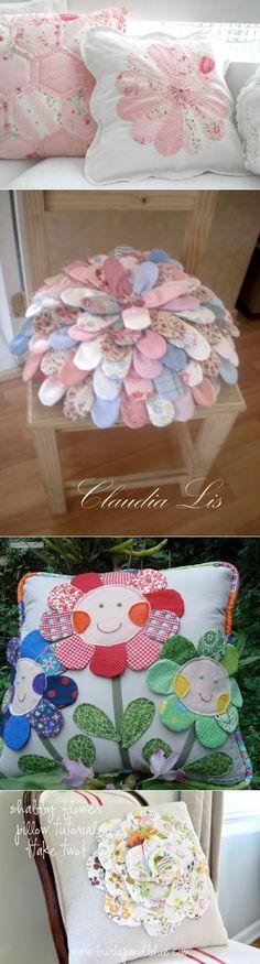Подушка-цветок из лоскутов — Рукоделие