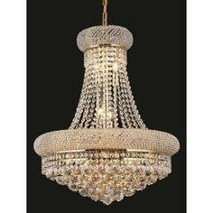 Elegant Lighting Gold Royal-cut Crystal Clear Hanging 20-inch 14-light Chandelier (Gold Royal Cut Crystal Clear Hanging Fixture)