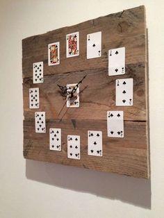 Poker I Card I Casino inspired  wall clock - wooden base #casino #cards #clock #poker