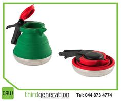 It's We found this awesome collapsible kettle online. The kettle packs up into the tiniest space and when you're ready, pop it up and onto just about any heat source.