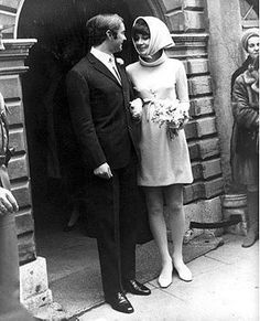 Audrey Hepburn and Andrea Dotti at their wedding in Morges, Switzerland, 1/18/69.