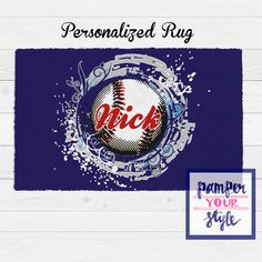 Baseball Personalized Area Rug