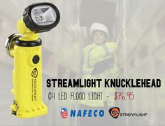 Streamlight Knucklehead C4 LED Flood Light, Alkaline, Yellow: Housing, base and battery housing made from high impact super tough nylon offering exceptional durability. All openings are O-ring sealed for weather resistance.