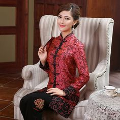 Fabulous Frog Button Red Chinese Tang Jacket - Chinese Jackets & Coats - Women