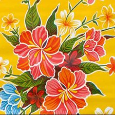 Yellow Hibiscus Oilcloth Fabric ~ Great for Tablecloth or Beach Bag ! ~ Oilcloth Alley~  oilclothalley.com