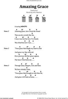 Newton - Amazing Grace sheet music for banjo solo (lyrics,chords) Ukulele Chords Disney, Ukulele Songs Beginner, Guitar Songs For Beginners, Guitar Chords And Lyrics, Easy Guitar Songs, Guitar Chords For Songs, Uke Songs, Acoustic Guitar Chords, Amazing Grace Guitar Chords