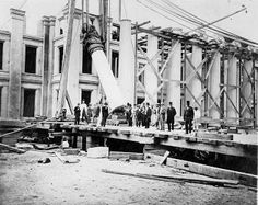 Building a better bank Construction crews move a pillar into place in 1861 during construction of the west wing of the oldest Federal departmental building in Washington, D. In Congress authorized construction of a fireproof building to house. History Images, Us History, American Civil War, American History, Best Bank, Still Picture, Photo Maps, Capitol Building, Historical Pictures