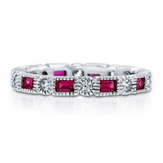 .925 Sterling Silver Baguette & Round Simulated Ruby CZ Art Deco Eternity Band Ring