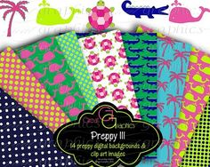 Preppy digital clip art and Preppy Background Paper $8