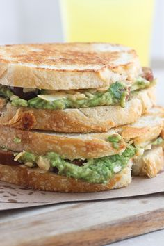 Chipotle Cheddar Grilled Cheese with Andouille Sausage and Smashed Avocado