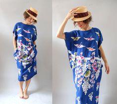 1980s Muumuu / 80s Birds and Vines Dress / Beach. $36.00, via Etsy.