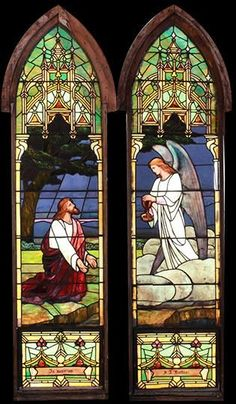 Antique American Style Christ Praying in the Garden Stained Glass Window DESCRIPTION: Antique stained glass window depicting Christ praying in the garden. The window is mostly opalescent glass with lots of drapery glass. It is a part of a set of 8 windows that are available from a 1907 church.