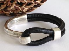 Black Leather Bracelet, Antique Silver Hook Clasp, Leather Bangle on Etsy, $34.00