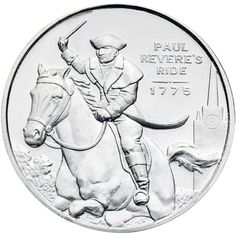 """Paul Revere (obverse) - The round's obverse depicts his famous """"Midnight Ride. 999 fine silver ½ ounce Paul Revere rounds are ideal for for people looking to add fractional silver to their silver collection. Silver Coins For Sale, Silver Eagle Coins, Gold Coins, Paul Revere, Old Coins Value, Coins Worth Money, Silver Quarters, Coin Worth, Silver Bags"""