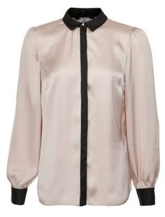 580d54933db2 Shell Pink Silky Contrast Collar Bell Sleeve Shirt Mode De Vêtements De  Travail, Collier De