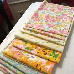 Just working on cutting up my newest finds! Love vintage fabric! I can't wait to see what will be created with these beauties!  https://m.facebook.com/vintagesheetsandgiggles/