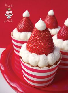 how cute are these little santa hat cupcakes!