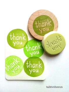 thank you rubber stamp. hand carved circle rubber by talktothesun
