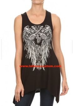 Soft, flowy, trendy and with tons of attitude! Smoking Guns™ - Rhinestone Top are so comfortable and they are so unique with rhinestones wings and pistols design. Big And Beautiful, Beautiful Women, Shop Now, Curves, Plus Size, Smoke, Tank Tops, Unique, Shopping