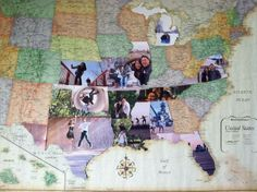 photos from each state visited, glued onto a giant map and cut to fit the shape of the state. Would like in black and white photos