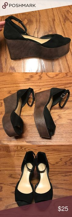 """Gianni Bini Wedge Sandals Gianni Bini Wedge Sandals. Excellent condition. Size 9 - Heels 3-1/2"""" - Leather Upper. Gianni Bini Shoes Wedges"""