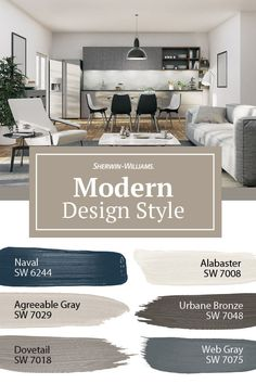 If you celebrate natural materials, neutral or earthy colors and the lack of unnecessary detailing, you'll love this modern paint color palette from Sherwin-Williams. Tap this pin for interior design tips to fit your modern style.