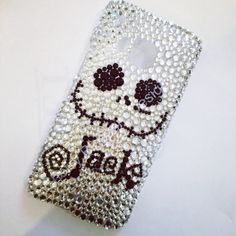 Hand decorated Jack Skellington phone case, fully rhinestone and available in most phone models. Made to order. Please specify your phone
