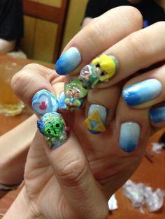 Rad Zelda nails art by Stella via John on twitter | #TWWHD #Tingle #Triforce