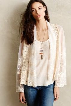 Meadow Rue Cropped Lace Jacket #anthrofave #anthropologie