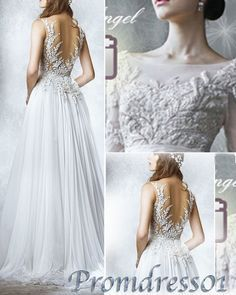 Prom dress 2015, elegant new white lace chiffon sleeves open back long prom dress for teens, ball gown, wedding dress, evening dress #promdress #wedding