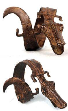 Burkina Faso | Ritual bracelet from the Gan people; bronze.