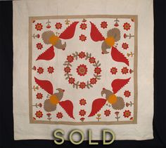 Eagles with Floral Wreath Applique Quilt