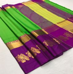 Green Purple Cotton Silk saree with Rich Mayurika Border – sf000468 Fabric : Cotton Silk Color : Green, Purple Length – 5.50 Meter & 0.8 Meter Blouse Package Content : 1 Saree With 1 Blouse Piece Work : Weaving Product color may slightly vary due to photographic lighting sources or your monitor settings. Wash Care : DRY CLEAN ONLY International shipping is available Contact us / whats app us : +91 9725728989