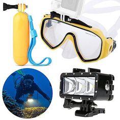 Scuba Dive Mask + Floating Handle Grip + Diving LED Light w/ GoPro Mount