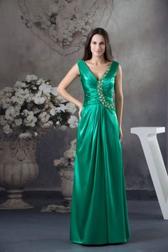 Free Shipping V Neck Green Satin 2013 Long Prom Dress£106