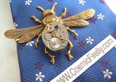 Men's Steampunk Tie Clip Brass Bee Tie Clip Vintage Watch Movement Winged Bug Tie Bar Gothic Victorian Men's Tie Clip Men's Gifts Good Luck by CosmicFirefly on Etsy https://www.etsy.com/listing/203181246/mens-steampunk-tie-clip-brass-bee-tie