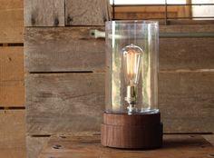 Signature Lantern Pedestal Lamp, Walnut- Solid Walnut, Table Lamp, Edison Bulb Lamp, Modern Lighting, Glass Shade on Etsy, $219.00