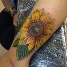 Sunflower Tattoo on Wrist by Danny Mateo