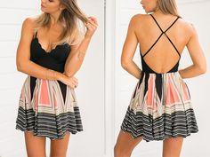 V-neck Spaghetti Strap Splicing Print Short Dress - Oh Yours Fashion - 4