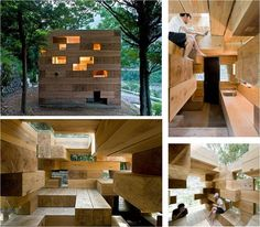 Final Wooden House by Sou Fujimoto Architects is based in Japan and shows the versatility of wood.    Creating a house in the form of a game of Jenga the wood allows Fujimoto to construct walls, seats, floors, furniture and windows.  The space is light, playful and intriguing.